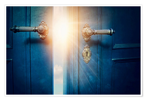 Poster Premium Open blue door and sunshine