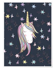 Poster Premium Unicorn at night