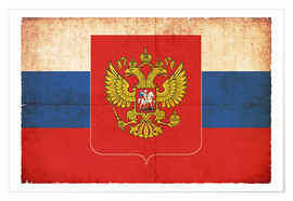 Poster Premium Old flag of Russia with coat of arms in grunge style