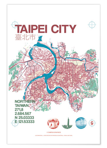 Poster Premium Taipei City Map