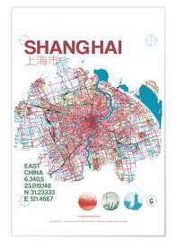 Poster Premium Shanghai city map