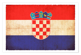 Poster Premium Old flag of Croatia in grunge style