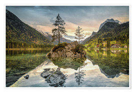 Poster Premium Hintersee at an evening in spring