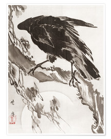 Poster  Crow and the Moon - Kawanabe Kyosai
