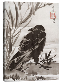 Stampa su tela  Crow and Reeds by a Stream - Kawanabe Kyosai