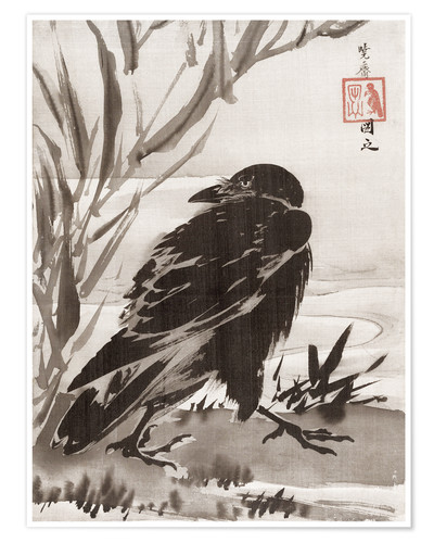 Poster Premium Crow and Reeds by a Stream