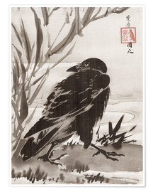 Poster Premium  Crow and Reeds by a Stream - Kawanabe Kyosai