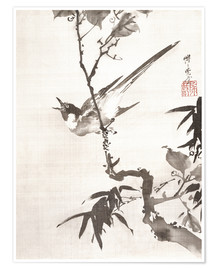 Poster Premium  Singing Bird on a Branch - Kawanabe Kyosai
