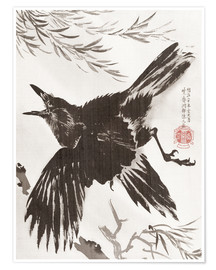 Poster Premium  Crow and Willow Tree - Kawanabe Kyosai