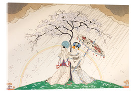Stampa su vetro acrilico  Two women sheltering from the rain, under a tree - Georges Barbier