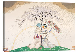 Stampa su tela  Two women sheltering from the rain, under a tree - Georges Barbier
