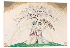 Stampa su schiuma dura  Two women sheltering from the rain, under a tree - Georges Barbier
