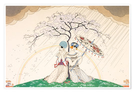 Poster Premium  Two women sheltering from the rain, under a tree - Georges Barbier
