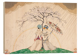 Stampa su legno  Two women sheltering from the rain, under a tree - Georges Barbier