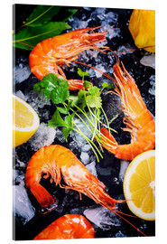 Vetro acrilico  Tiger Shrimps on Ice with lemon and herbs