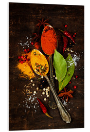 Forex  Bright spices on an old wooden board