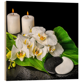 Stampa su legno  Spa concept with candles and orchids