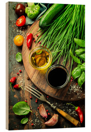 Stampa su legno  Healthy Bio Vegetables and spices