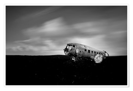 Poster Premium Airplane wreck on Iceland