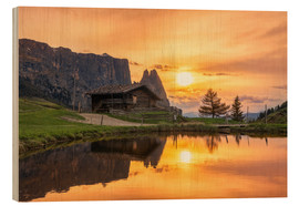 Stampa su legno  Alpe di Siusi with Schlern at sunset - Dieter Meyrl