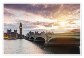 Poster Premium  LONDON Westminster Bridge and Big Ben at Sunset - rclassen