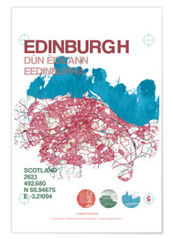 Poster  Edinburgh city map - campus graphics