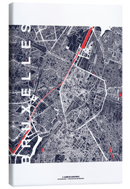 Stampa su tela  Brussels map city midnight - campus graphics