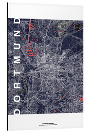 Stampa su alluminio  City of Dortmund Map midnight - campus graphics