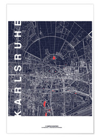Poster Premium  Karlsruhe city map at midnight - campus graphics