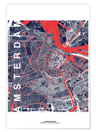 Poster Premium City of Amsterdam Map midnight