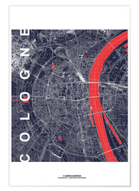 Poster Premium City of Cologne Map midnight