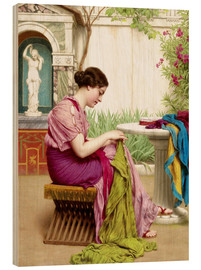 Stampa su legno  A stitch in time - John William Godward