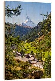 Stampa su legno  View of Zermatt and the Matterhorn, Swiss Alps, Switzerland - Jan Christopher Becke