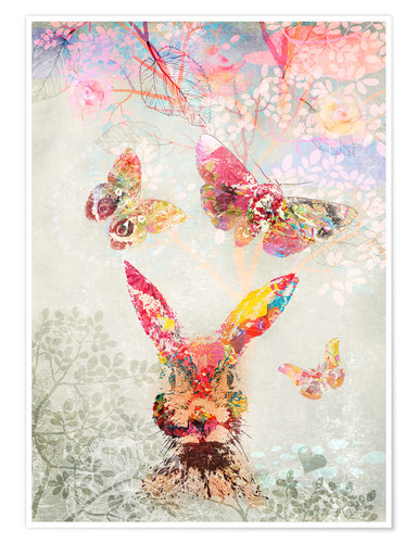 Poster Premium Butterflies and Hare
