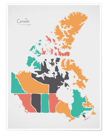 Poster Premium Canada map modern abstract with round shapes