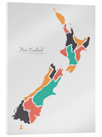 Stampa su vetro acrilico  New Zealand map modern abstract with round shapes - Ingo Menhard
