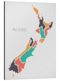 Stampa su alluminio  New Zealand map modern abstract with round shapes - Ingo Menhard