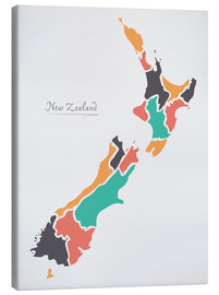 Stampa su tela  New Zealand map modern abstract with round shapes - Ingo Menhard