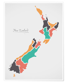 Poster Premium  New Zealand map modern abstract with round shapes - Ingo Menhard