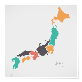 Poster Premium Japan map modern abstract with round shapes