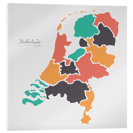 Stampa su vetro acrilico  Netherlands map modern abstract with round shapes - Ingo Menhard