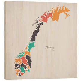 Stampa su legno  Norway map modern abstract with round shapes - Ingo Menhard