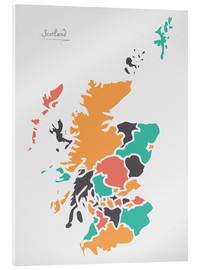 Stampa su vetro acrilico  Scotland map modern abstract with round shapes - Ingo Menhard