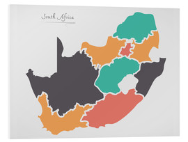 Stampa su schiuma dura  South Africa map modern abstract with round shapes - Ingo Menhard