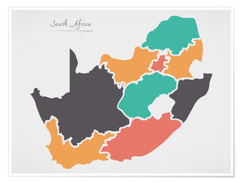 Poster Premium  South Africa map modern abstract with round shapes - Ingo Menhard