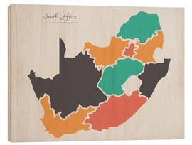 Stampa su legno  South Africa map modern abstract with round shapes - Ingo Menhard