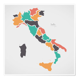 Poster Premium Italy map modern abstract with round shapes