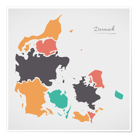 Poster Premium  Denmark map modern abstract with round shapes - Ingo Menhard