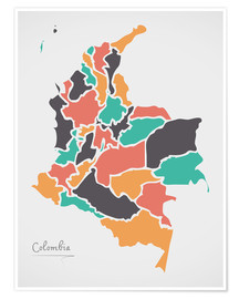 Poster Premium Colombia map modern abstract with round shapes