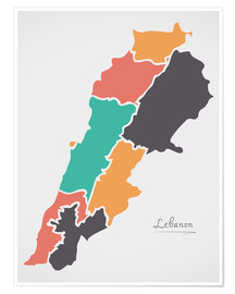 Poster Premium Lebanon map modern abstract with round shapes